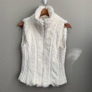 Guess faux fur sweater white zip up vest